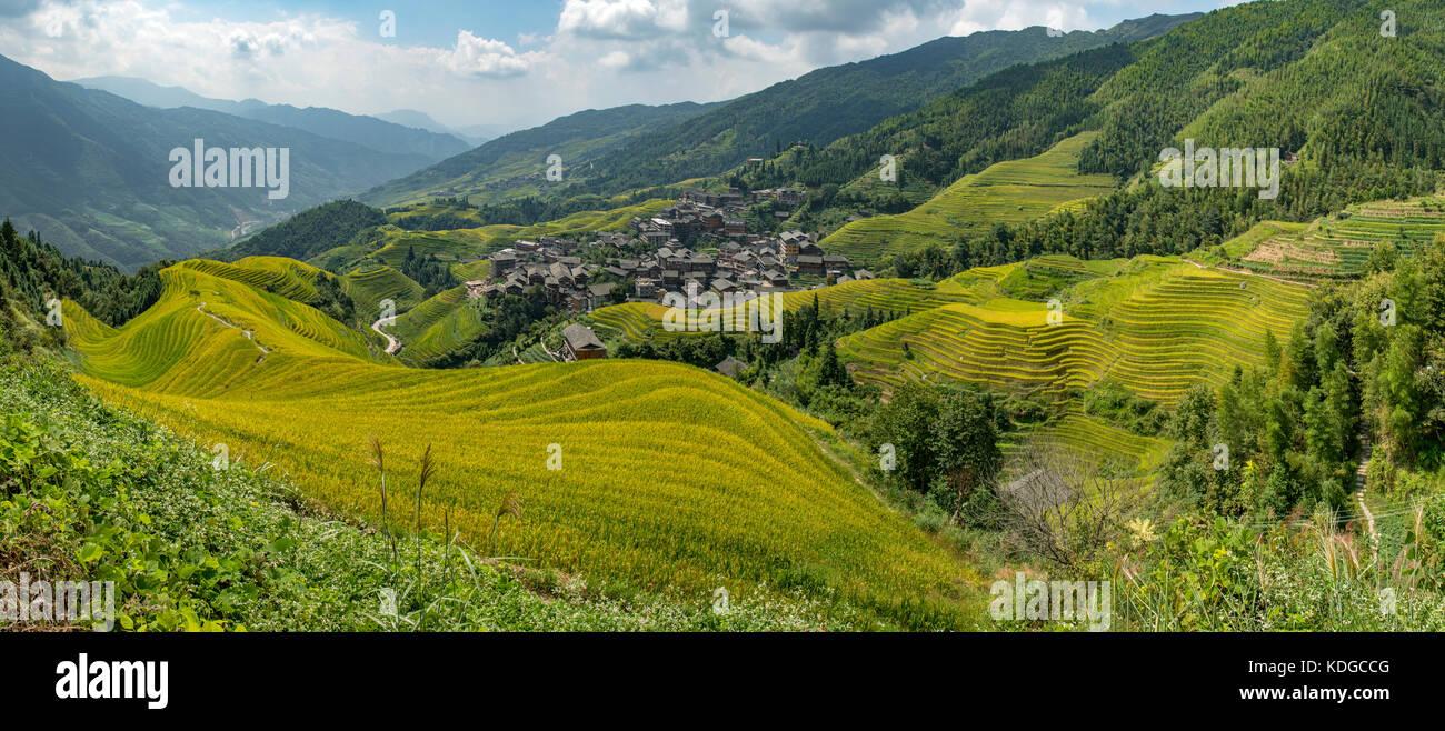 Ping'an et longji zhuang rizières en terrasses panorama, longsheng, Guangxi, Chine Photo Stock