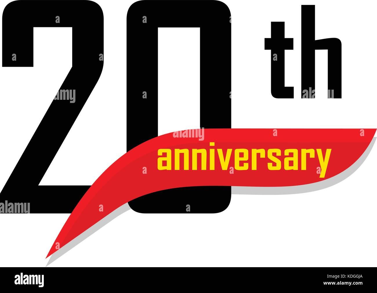20e Anniversaire Résumé Logo Vector Vingt Joyeux Anniversaire Jour