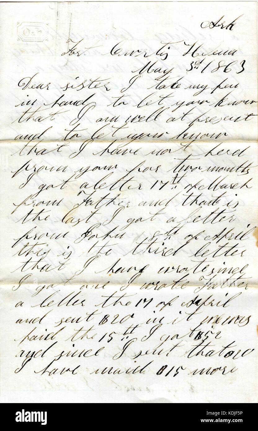 Lettre Signée David T Massey Fort Curtis Helena Ark à
