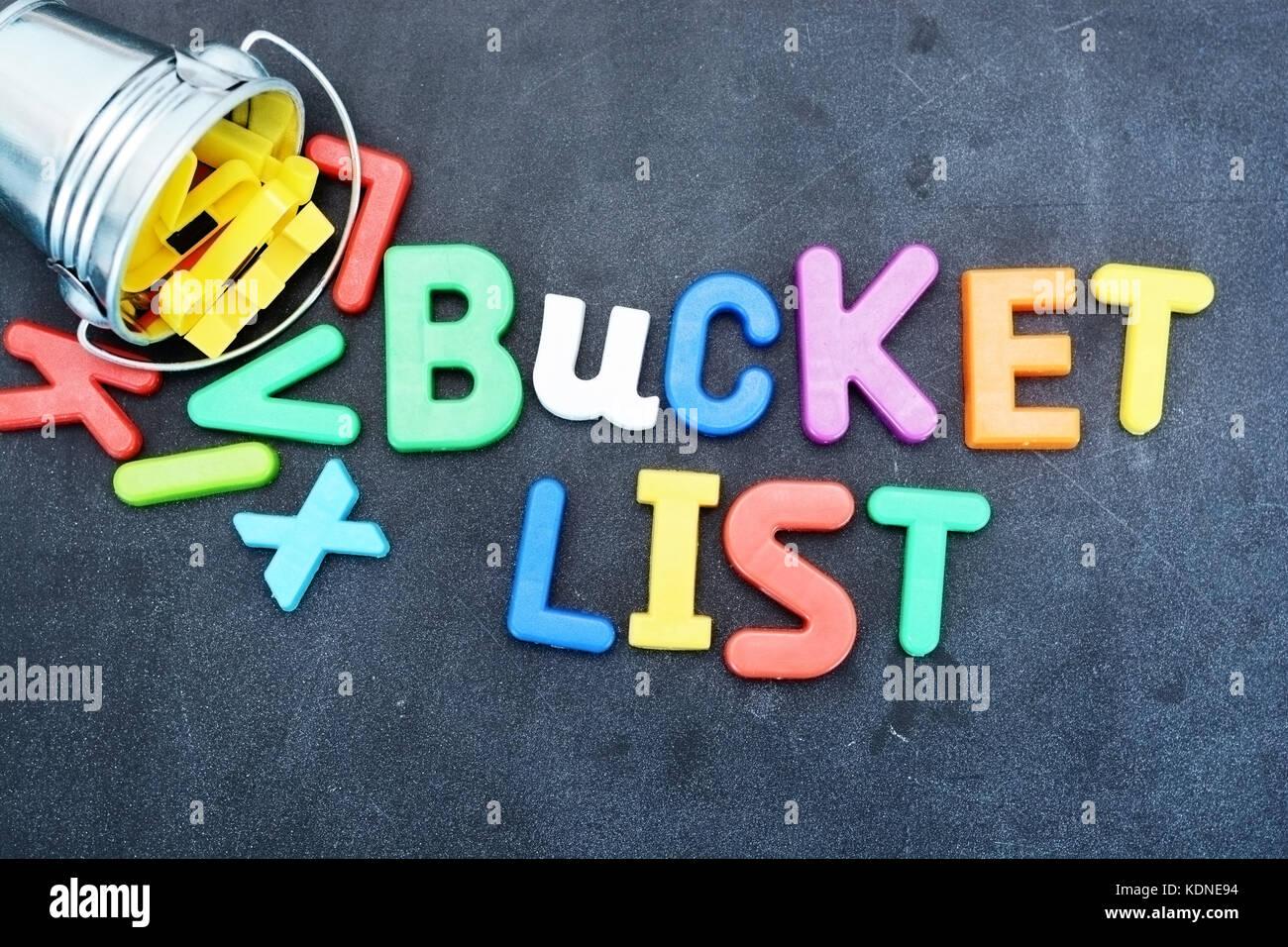 Choses à faire avant de mourir, bucket list concept Banque D'Images