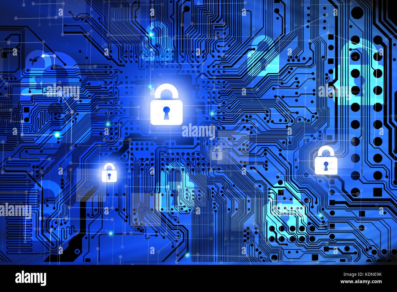 Concept de sécurité internet avec carte mère de l'ordinateur et casier Banque D'Images