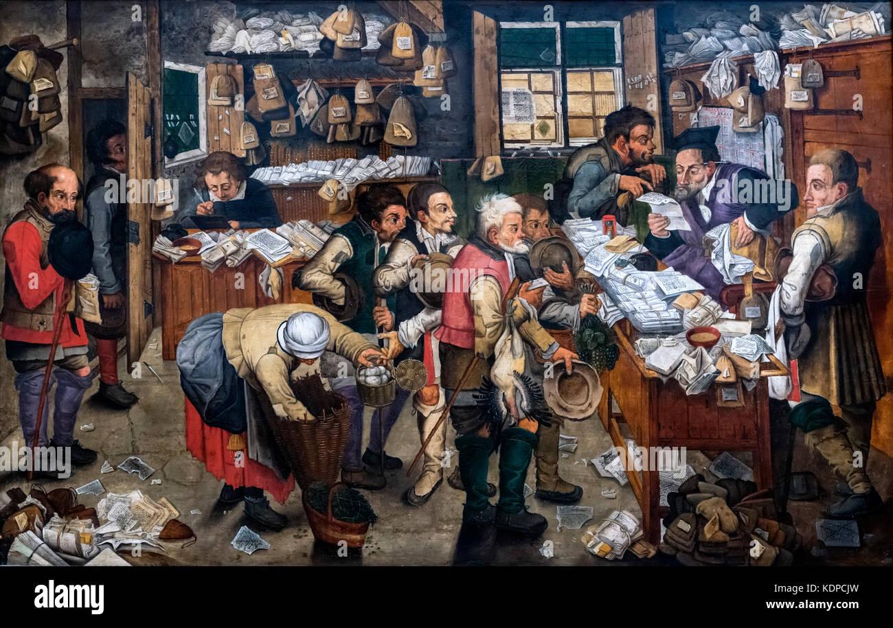 Le paysan de Boerenadadvocaat (avocat), copie d'après Pieter Bruegel le Jeune, huile sur panneau, 17thC Photo Stock