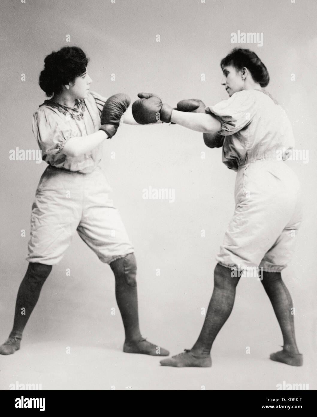 Bennett sœurs boxe, vers 1910 Photo Stock