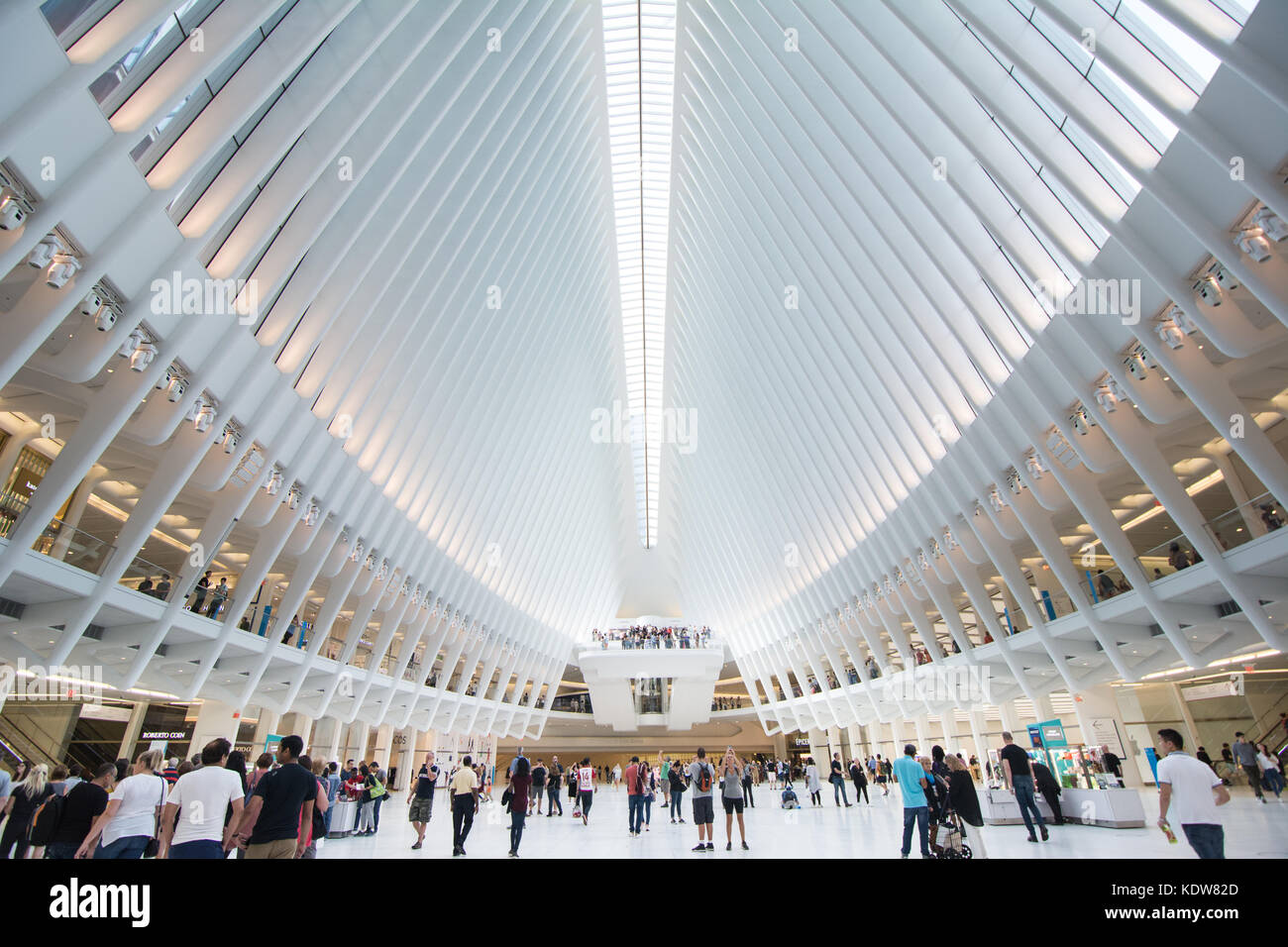 L'impressionnante architecture de l'Oculus au World Trade Center transportation hub à New York, United Photo Stock