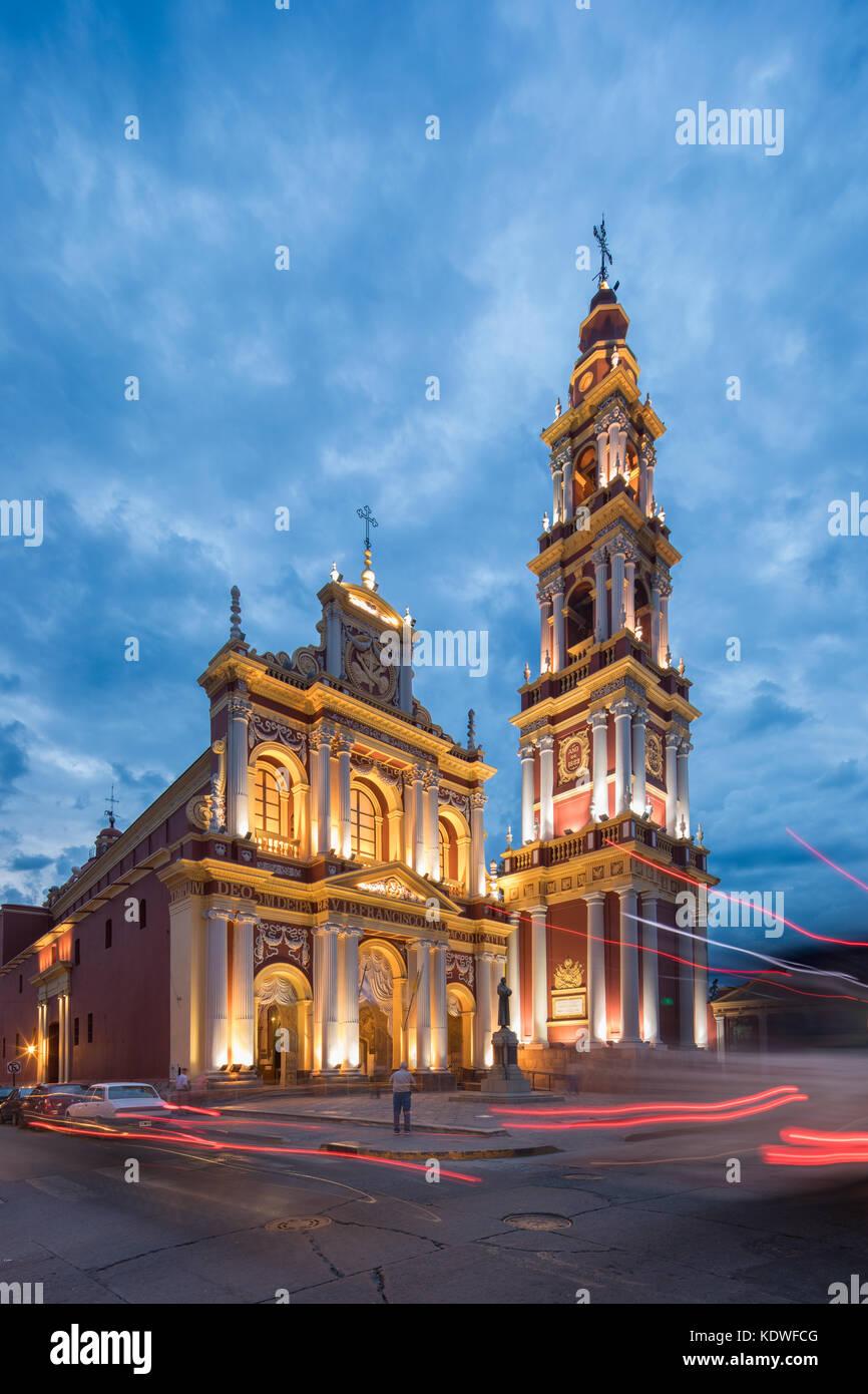 Iglesia San Francisco de Asis au crépuscule, Salta, Argentine Photo Stock