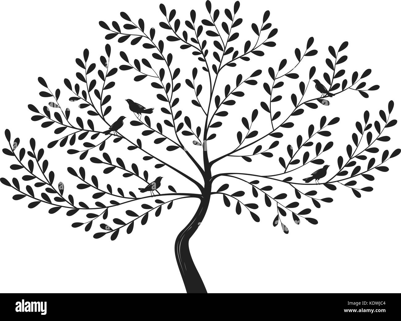 arbre décoratif avec des oiseaux sur les branches. silhouette vector