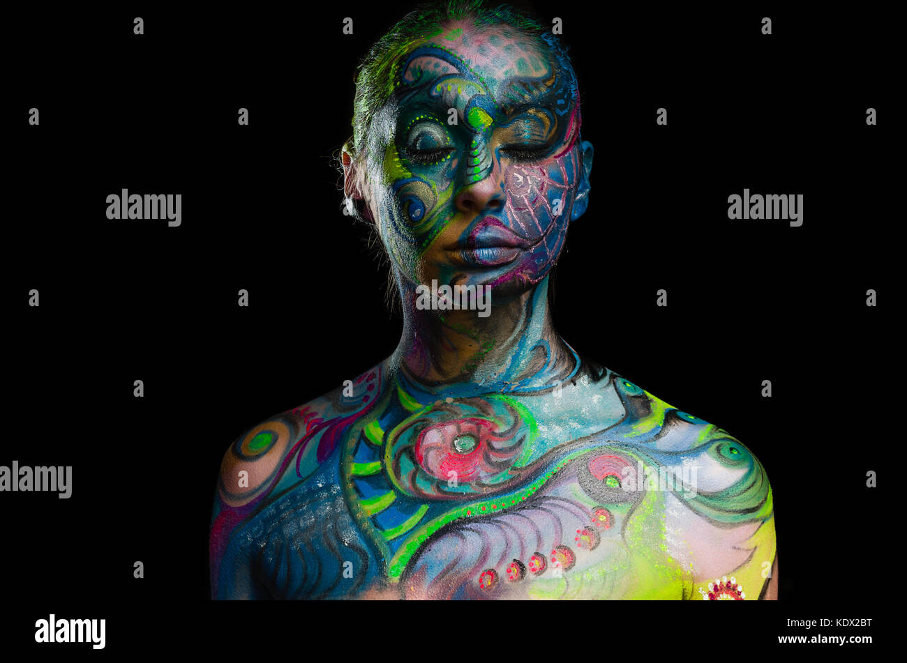 Belle body art - visage artistique (vue de face) Photo Stock