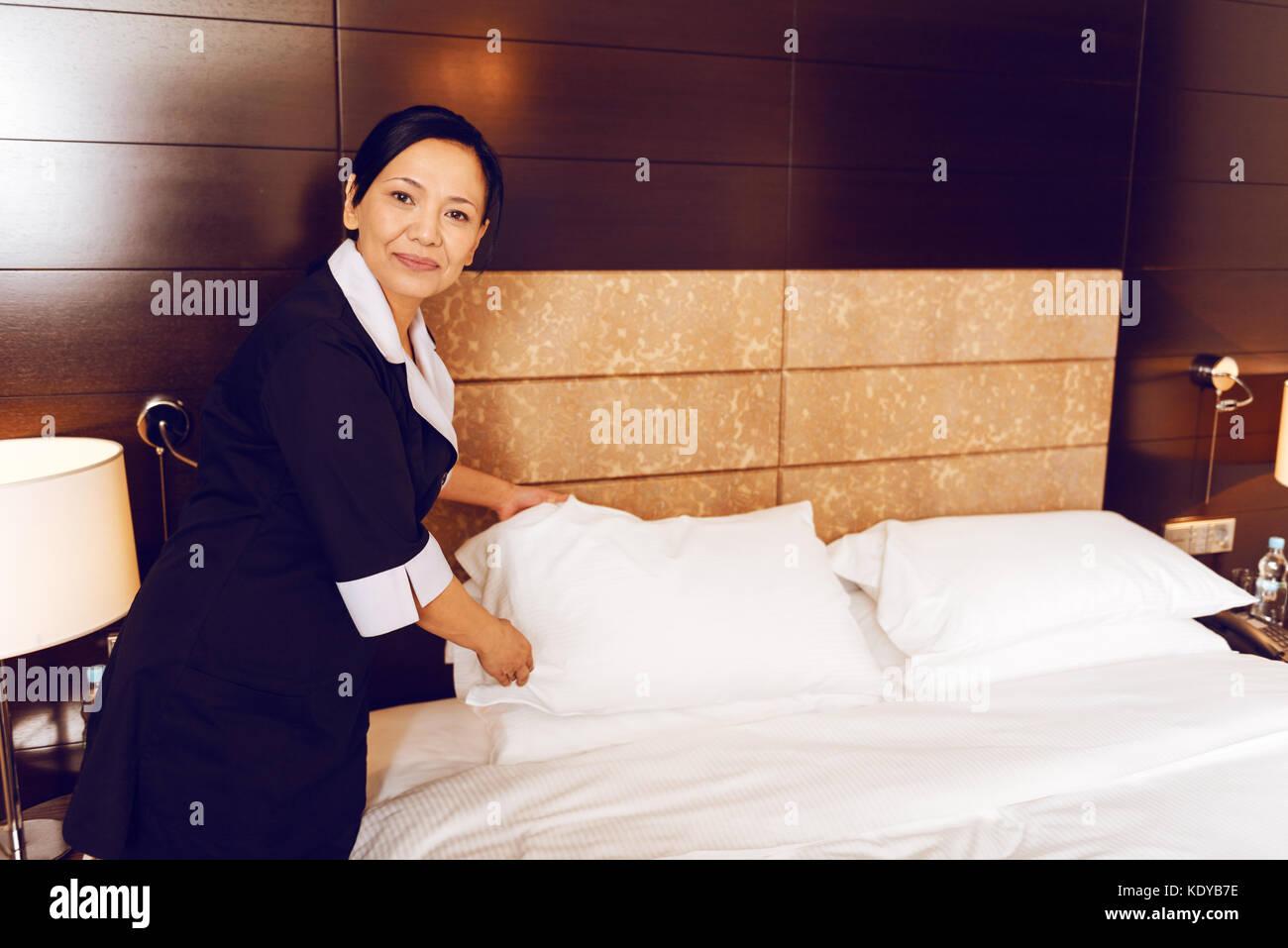 Les employés de l'hôtel être au travail Photo Stock