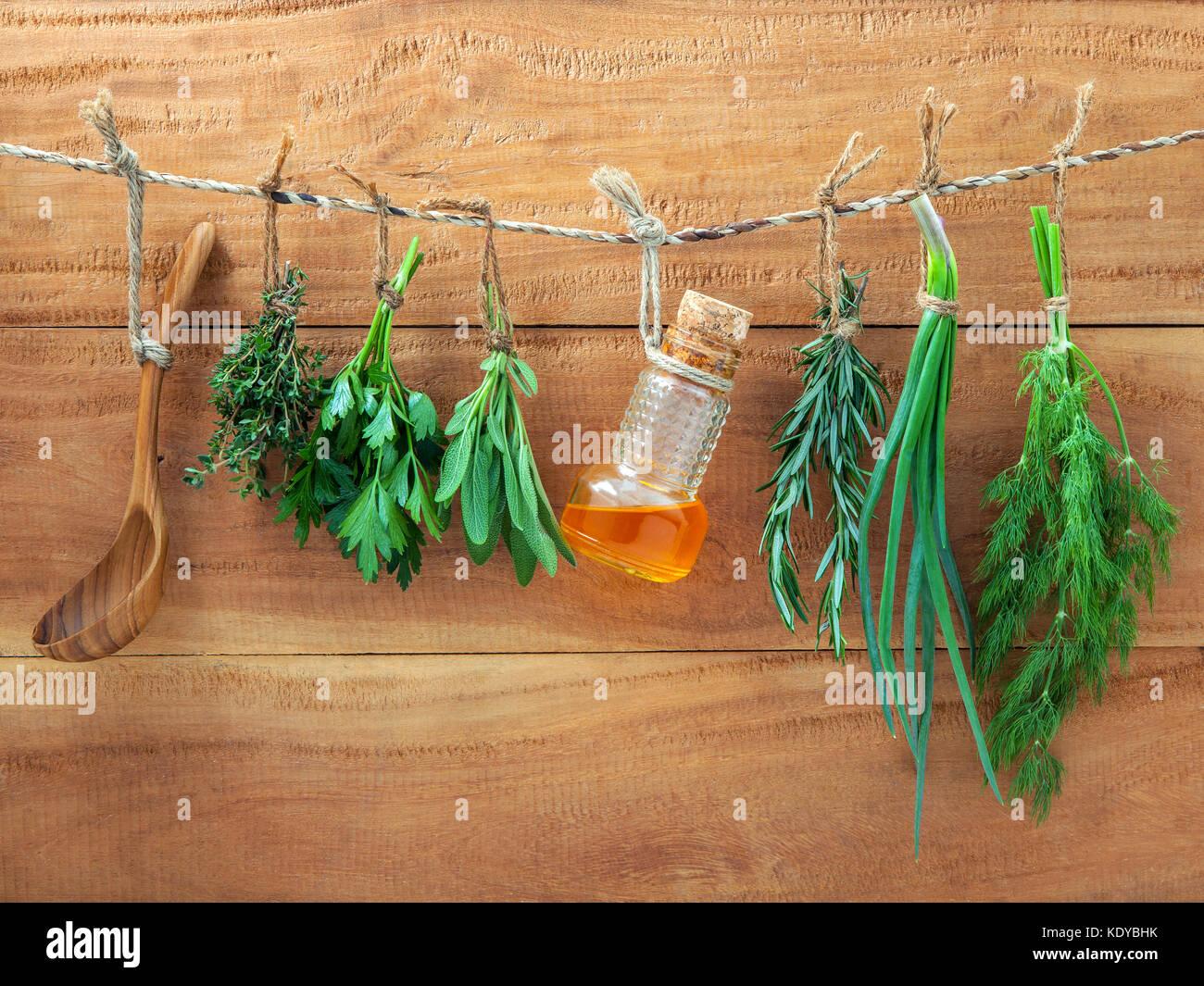 Plusieurs herbes accroché sur fond de bois minable. le persil, sauge, romarin, fenouil, l'échalote, Photo Stock