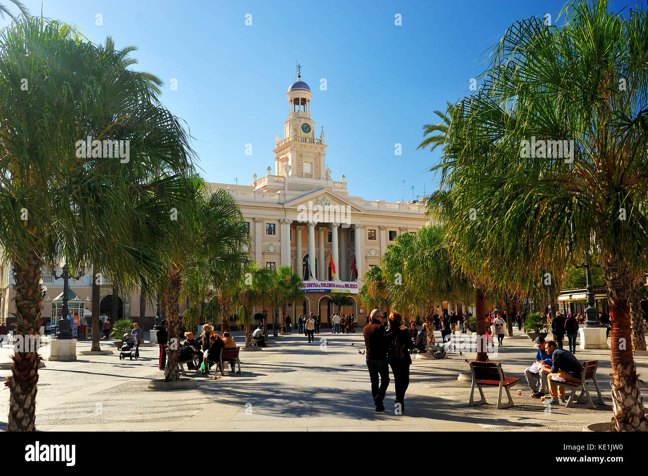 Plaza de San Juan de Dios avec mairie, Cadix, Andalousie, espagne Banque D'Images