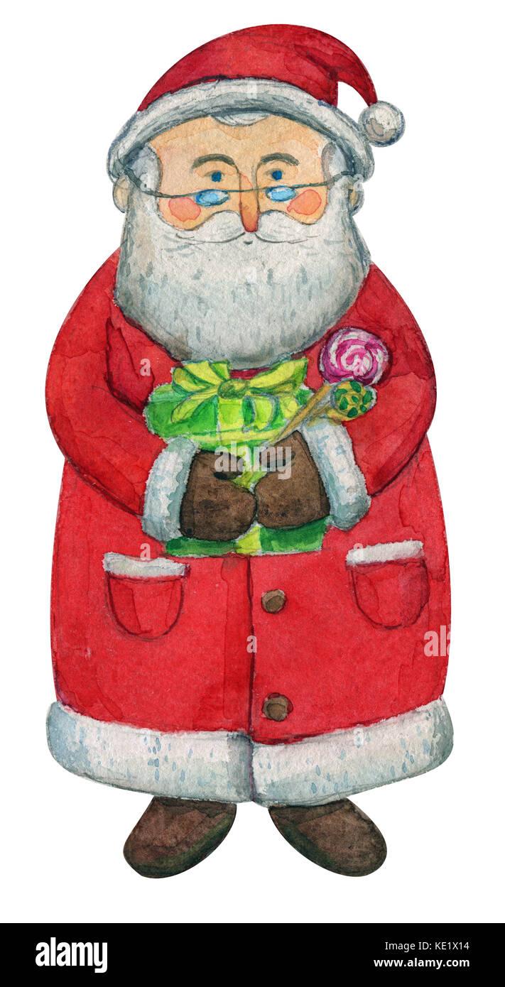 Père Noël Mignon Qui Souhaitent Un Joyeux Noël Et Une Bonne