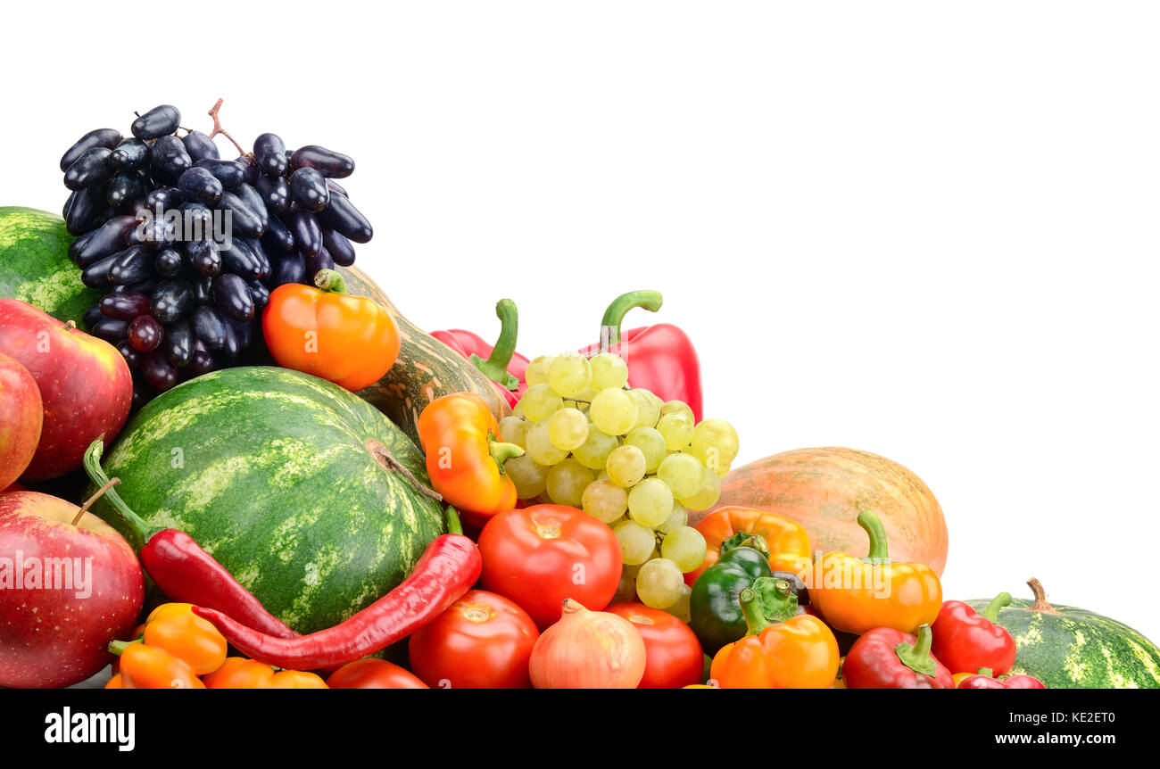 Fruits et légumes collection isolated on white Photo Stock