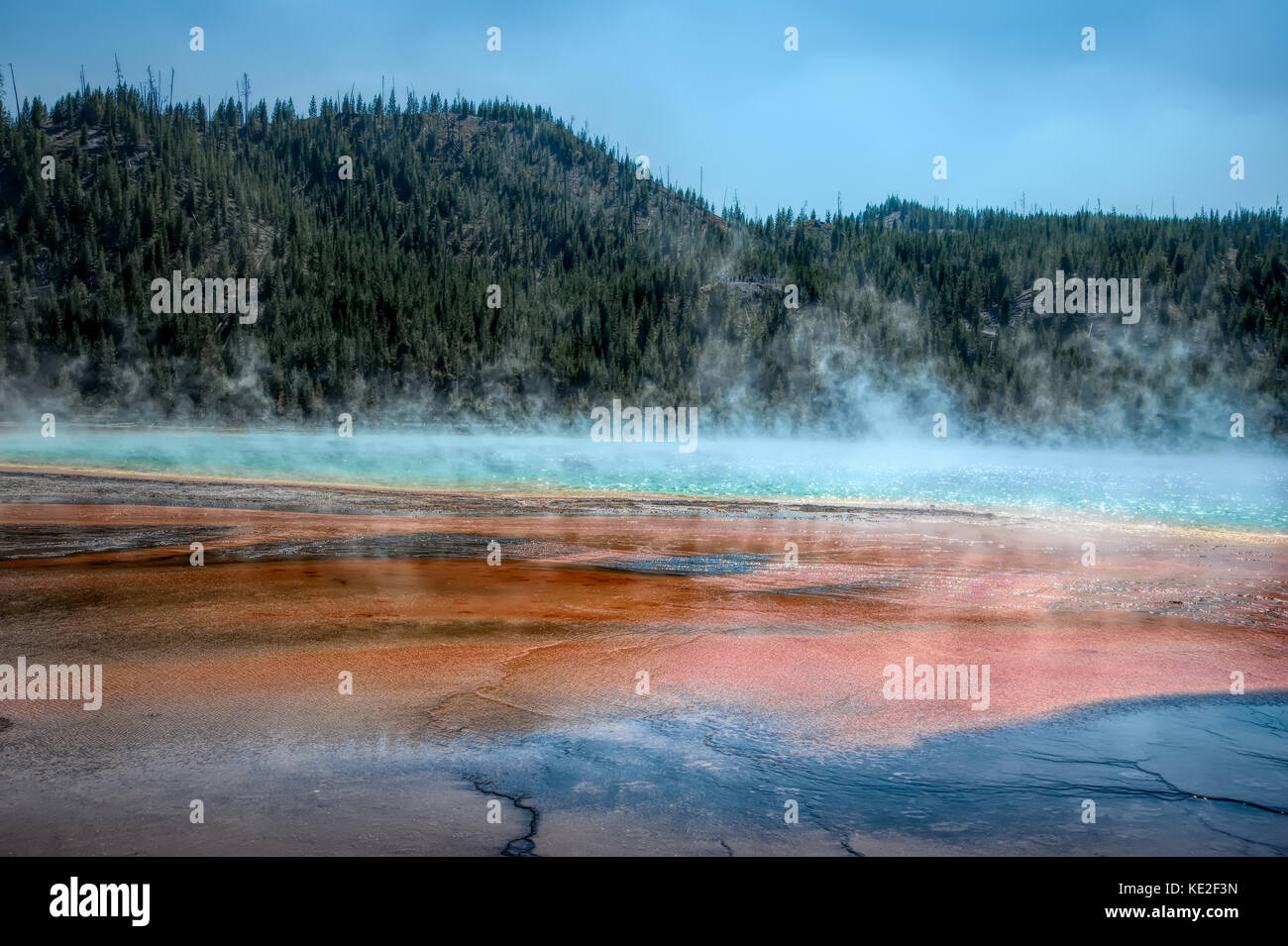 22 août 2017 - Grand Prismatic Spring in Yellowstone National Park Photo Stock