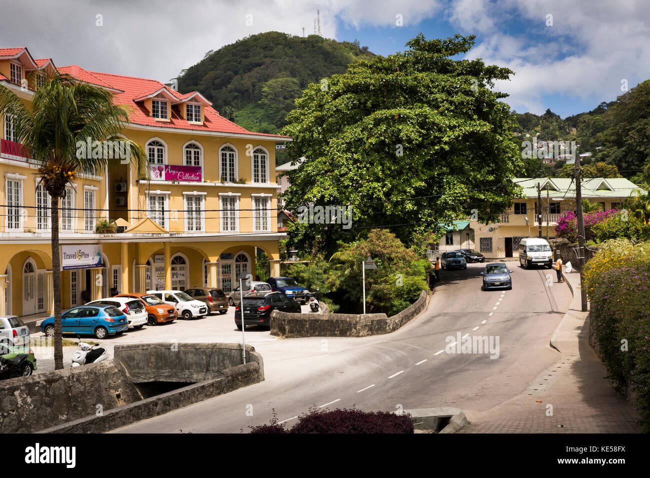 Les Seychelles, Mahe, Olivier Maradan rue, magasins Photo Stock