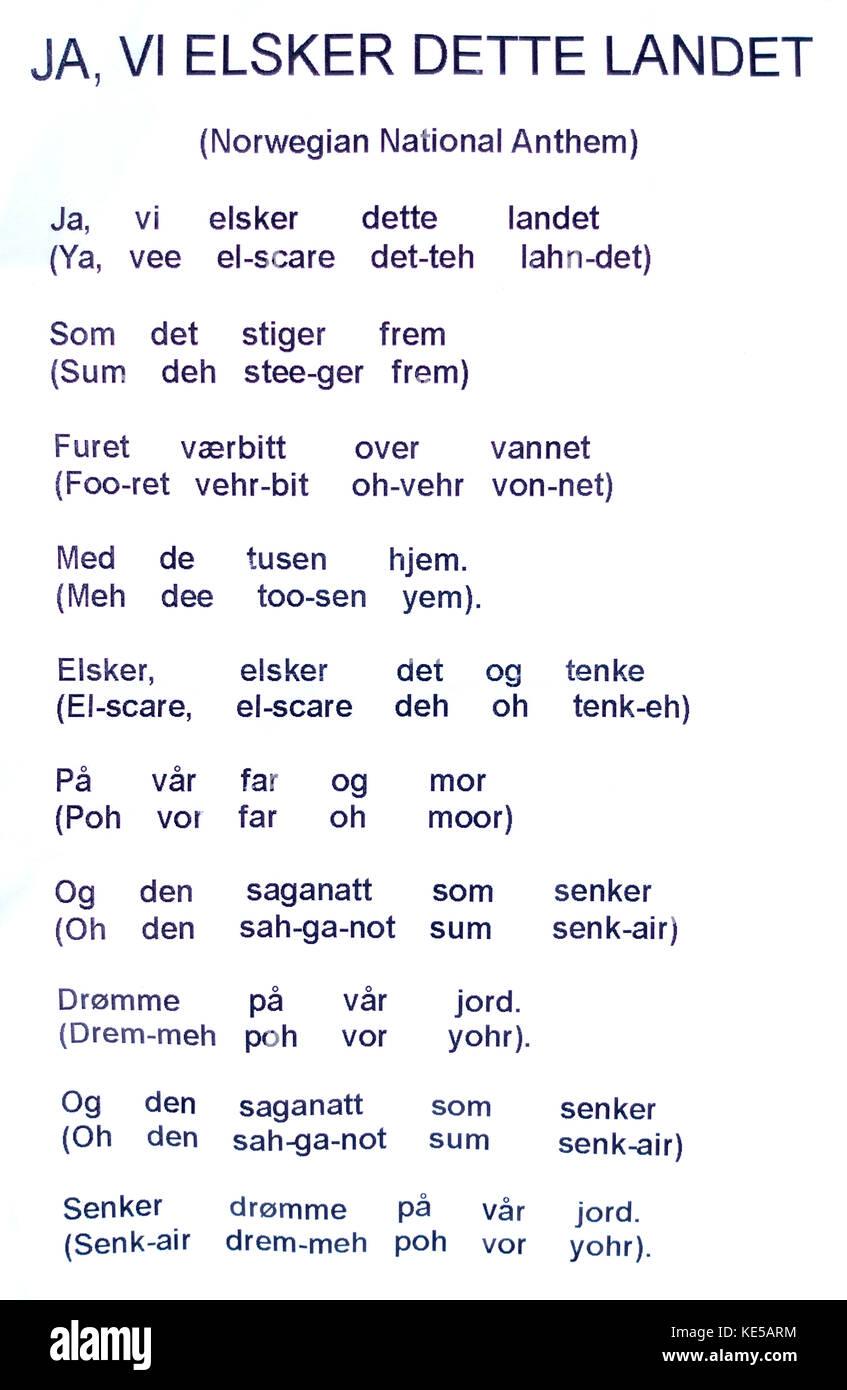 Prononciation phonétique pour chanter l'hymne national norvégien. St paul minnesota mn usa Photo Stock