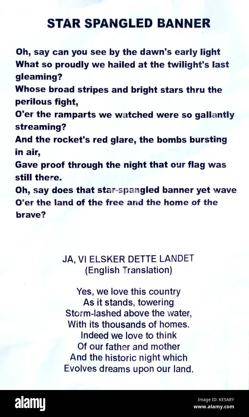 Paroles pour le Star Spangled Banner et la traduction anglaise de l'hymne national norvégien. St paul minnesota Photo Stock