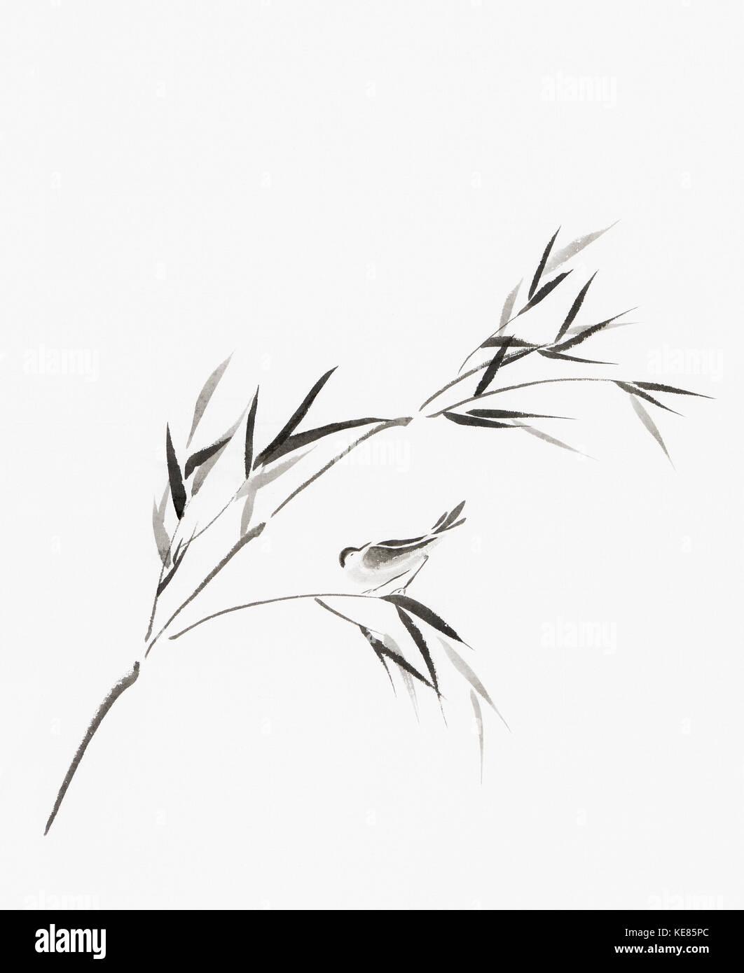 Oiseau perché sur une branche avec des feuilles de bambou oriental artistique illustration style zen japonais, Photo Stock