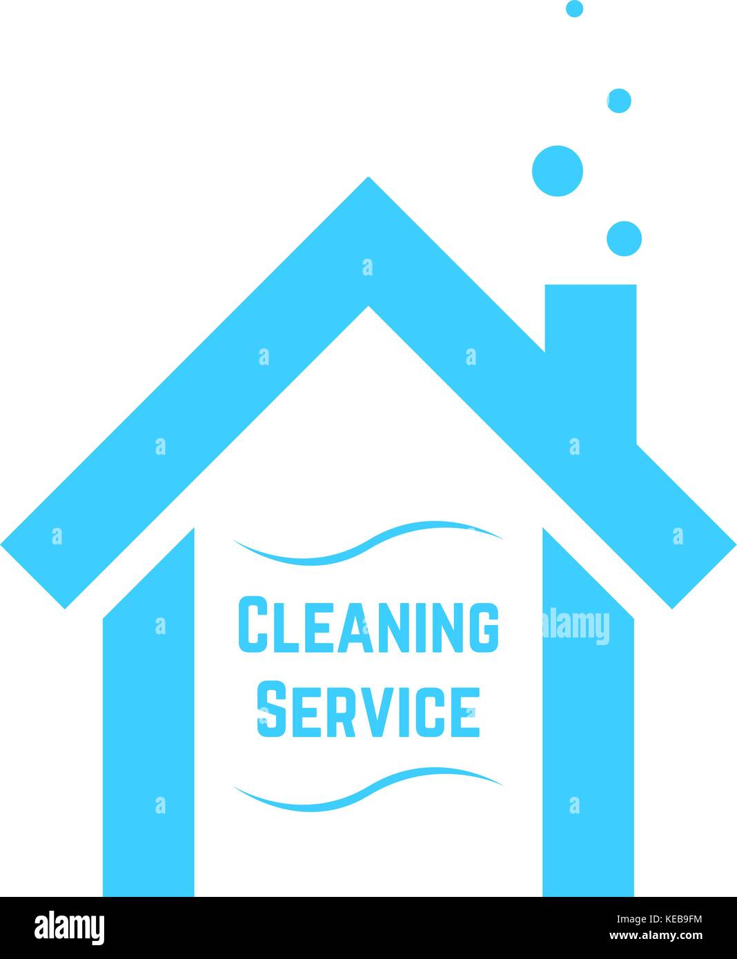 Service de nettoyage avec l'icône blue house Illustration de Vecteur