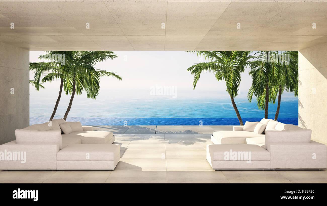Salon Moderne De Luxe Dans Une Villa Tropicale Avec Salon
