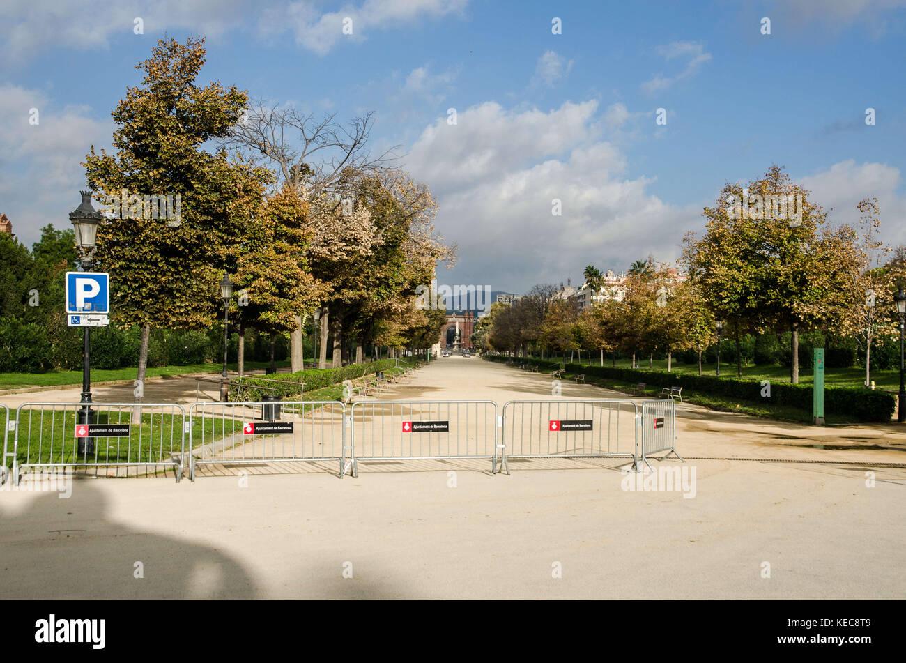Barcelone, Catalogne, espagne. 10 oct, 2017. Une vue inhabituelle de la Ciutadella Park sans que personne à Photo Stock
