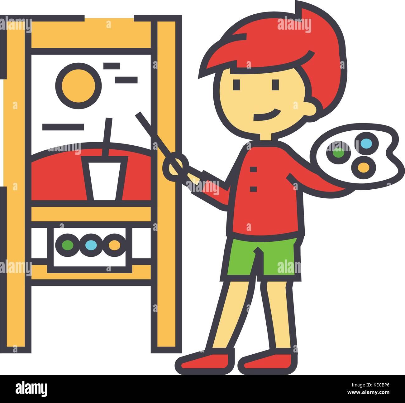 Peinture Pour Enfants Photo Sur Une Toile L Art De Peinture Concept Lecon Icone Vecteur Ligne Modifiable Avc Television Illustration Lineaire Isole Sur Fond Blanc Image Vectorielle Stock Alamy