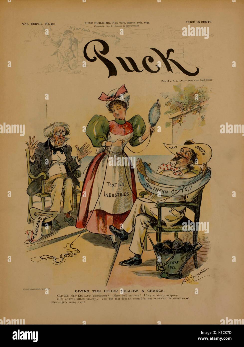 Caricature politique, donnant à l'autre une chance, puck, couverture de magazine, mars 13, 1885 Photo Stock