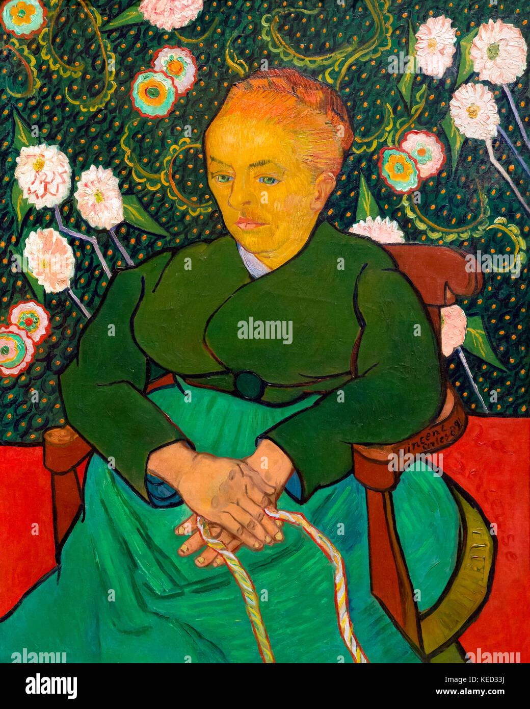 La berceuse, femme rocking un berceau, augustine alix-pellicot roulin, Vincent van Gogh, 1889, Metropolitan Museum Photo Stock