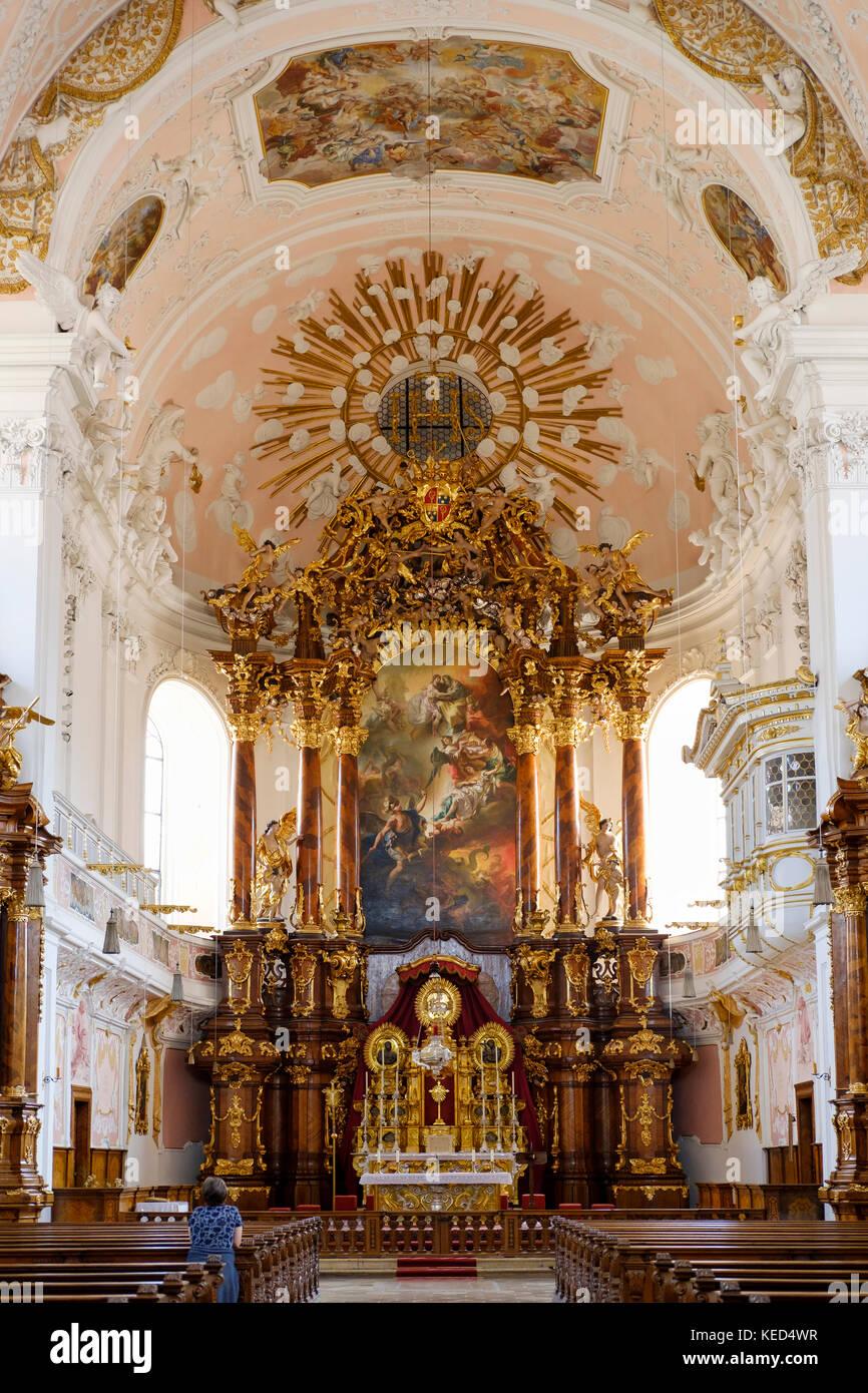 Sanctuaire avec maître-autel, ange gardien, église, Eichstätt, altmühltal, Haute-Bavière, Photo Stock