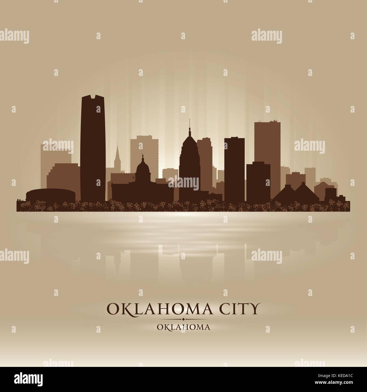 Oklahoma City skyline silhouette Photo Stock