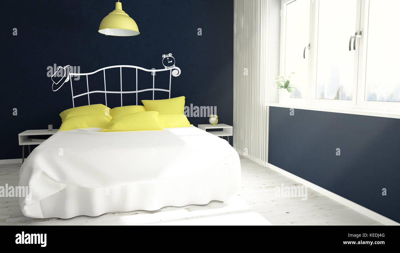 Chambre jaune et bleu le rendu 3D ou tête de vinyle Banque D\'Images ...