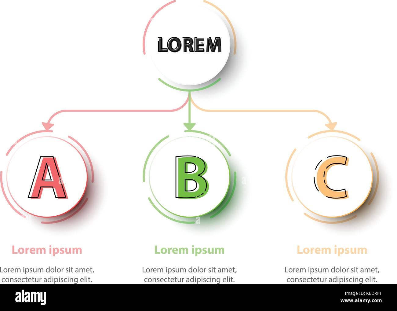 Trois thèmes 3D colorée des cercles dans l'organisation graphique sur fond blanc pour couvrir Site internet présentation Illustration de Vecteur