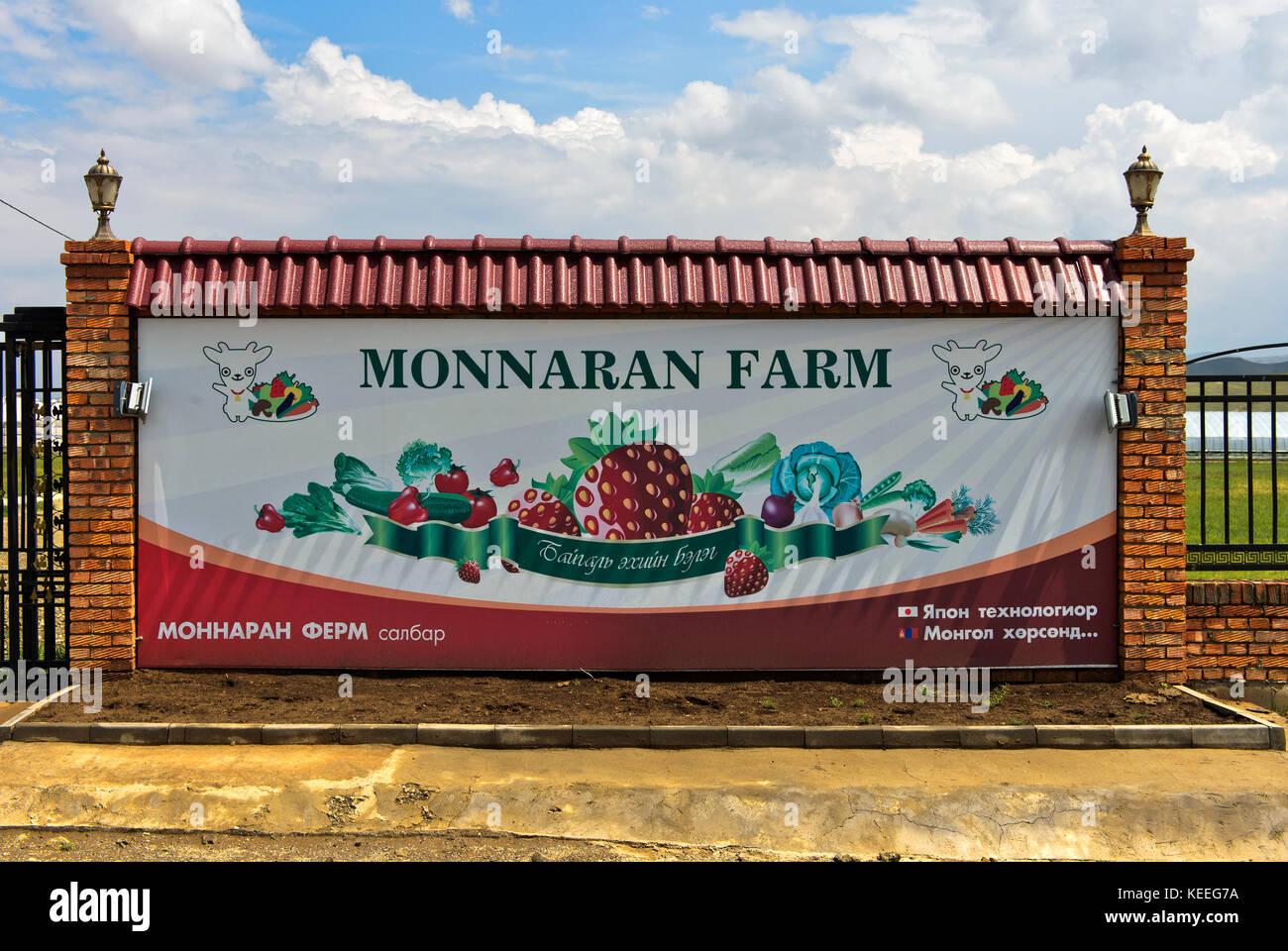 Affiche de l'monnaran de ferme agricole quotidienne llc, songino khairkhan, Mongolie Photo Stock