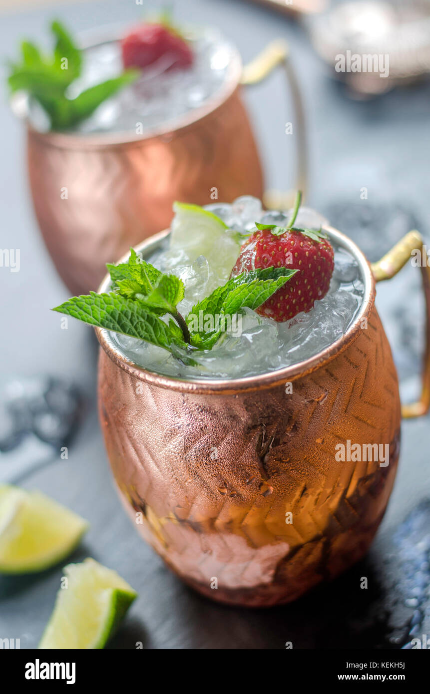 Mojito cocktails garnished with strawberry Photo Stock