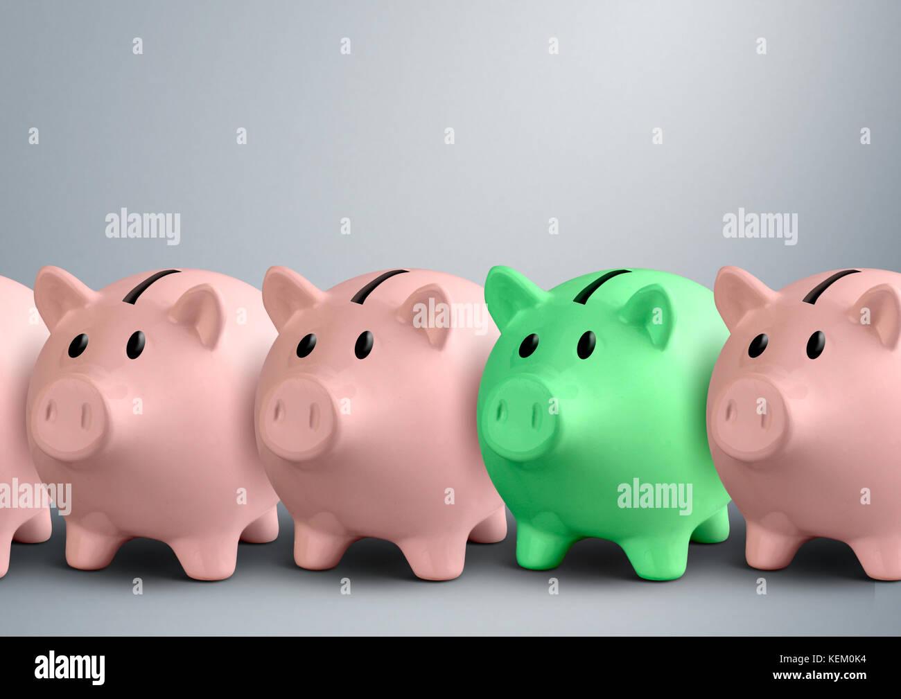 Piggy Banks, finances concept Réussite Photo Stock