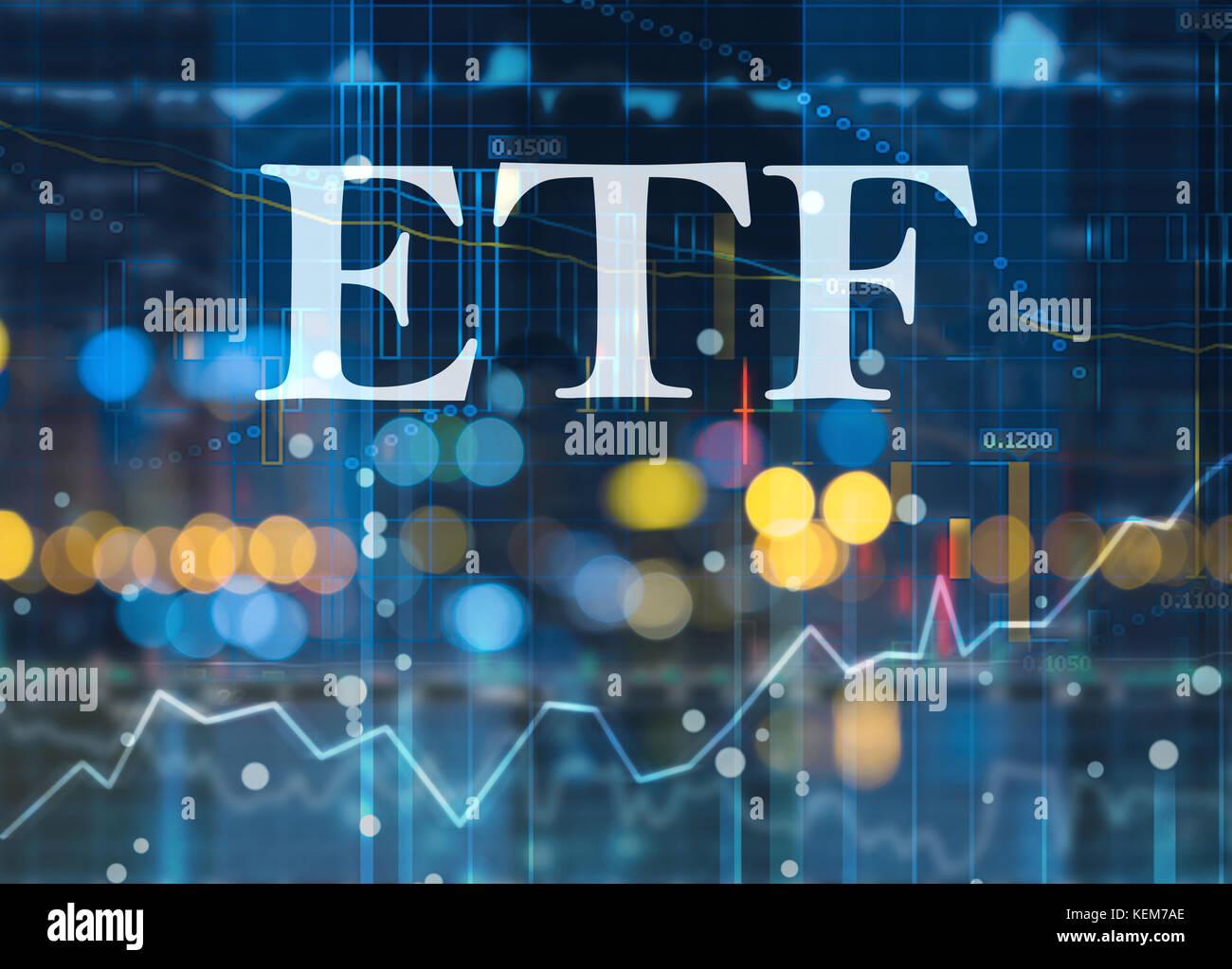 Etf, fonds négociés en bourse, investissement passif dans des fonds indiciels sur les marchés des Photo Stock