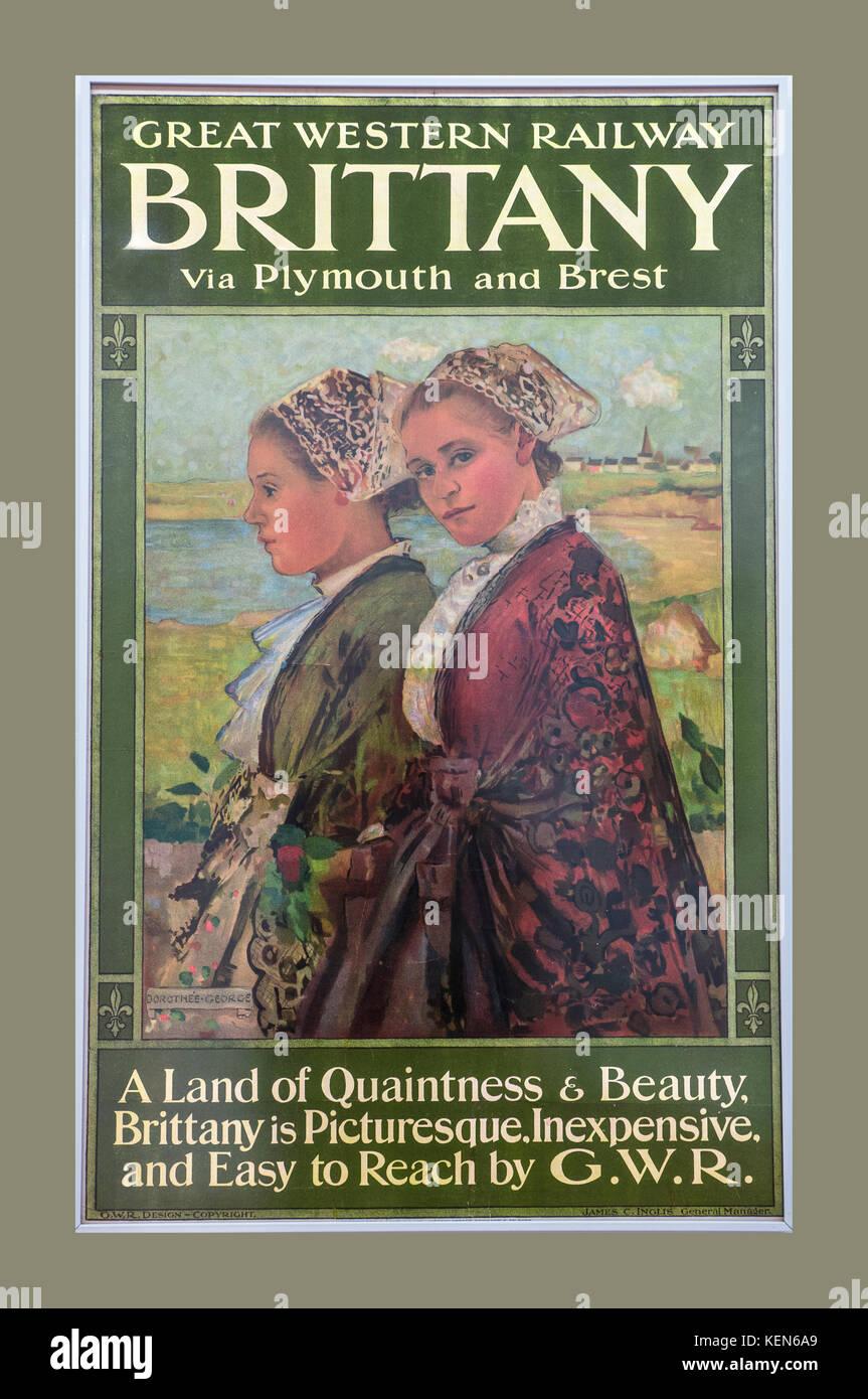 Retro Vintage travel poster 1930 GWR Great Western Railway à Bretagne France via Plymouth et Brest Photo Stock