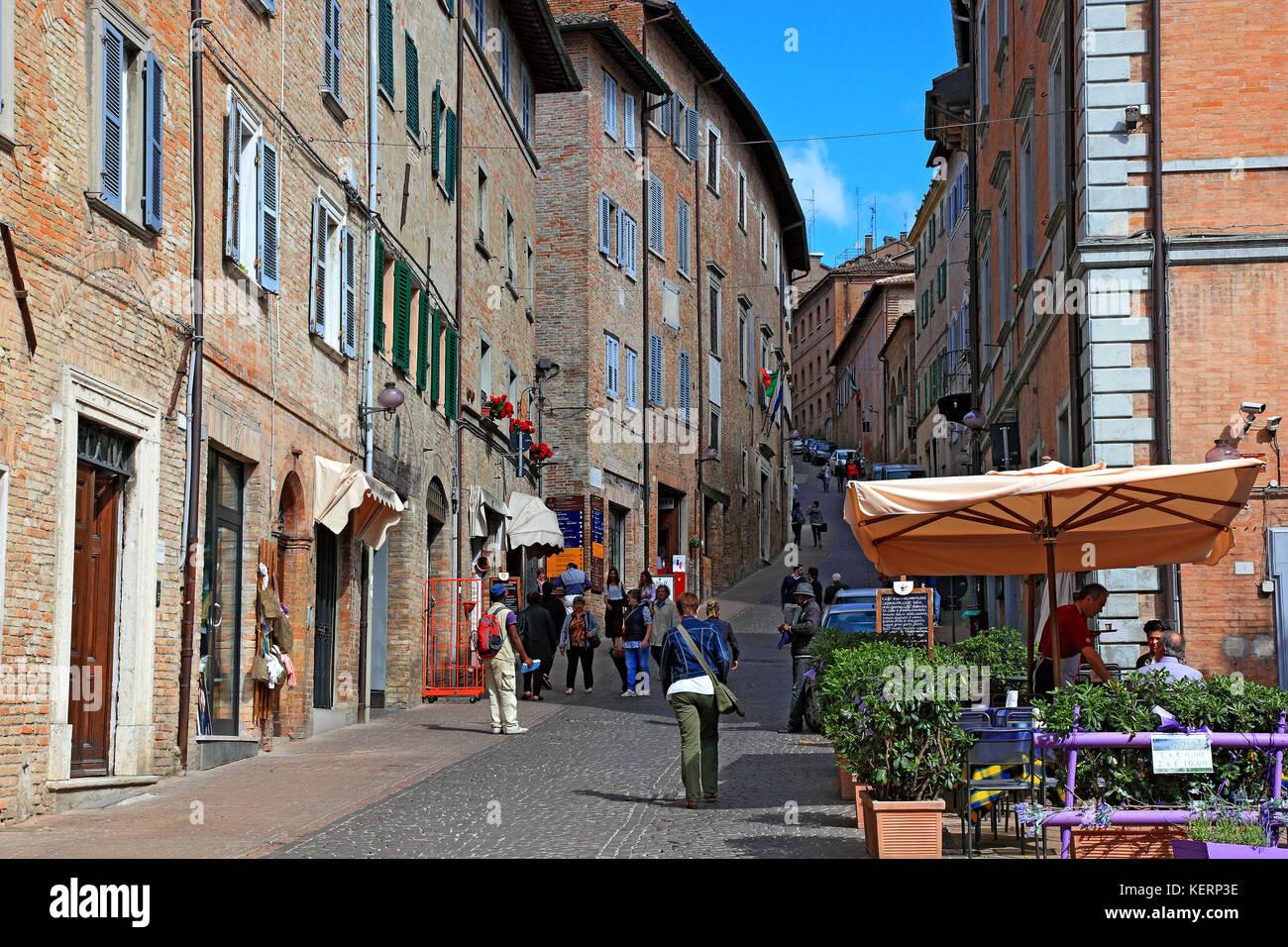 Centre de la vieille ville d'Urbin, Marches, Italie Banque D'Images