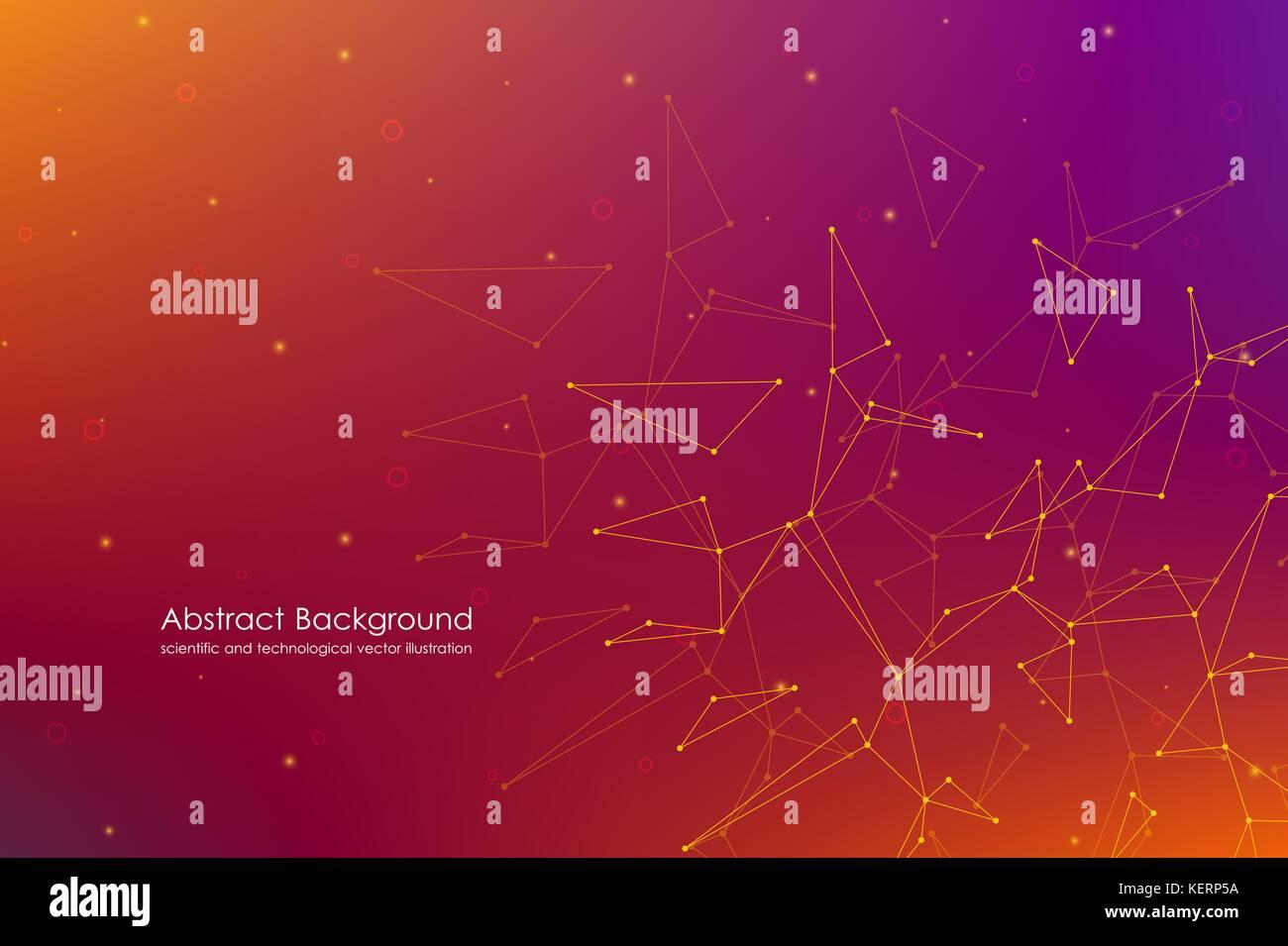 Abstract futuristic background avec les points et les lignes, particules et atomes moléculaires, texture numérique Photo Stock
