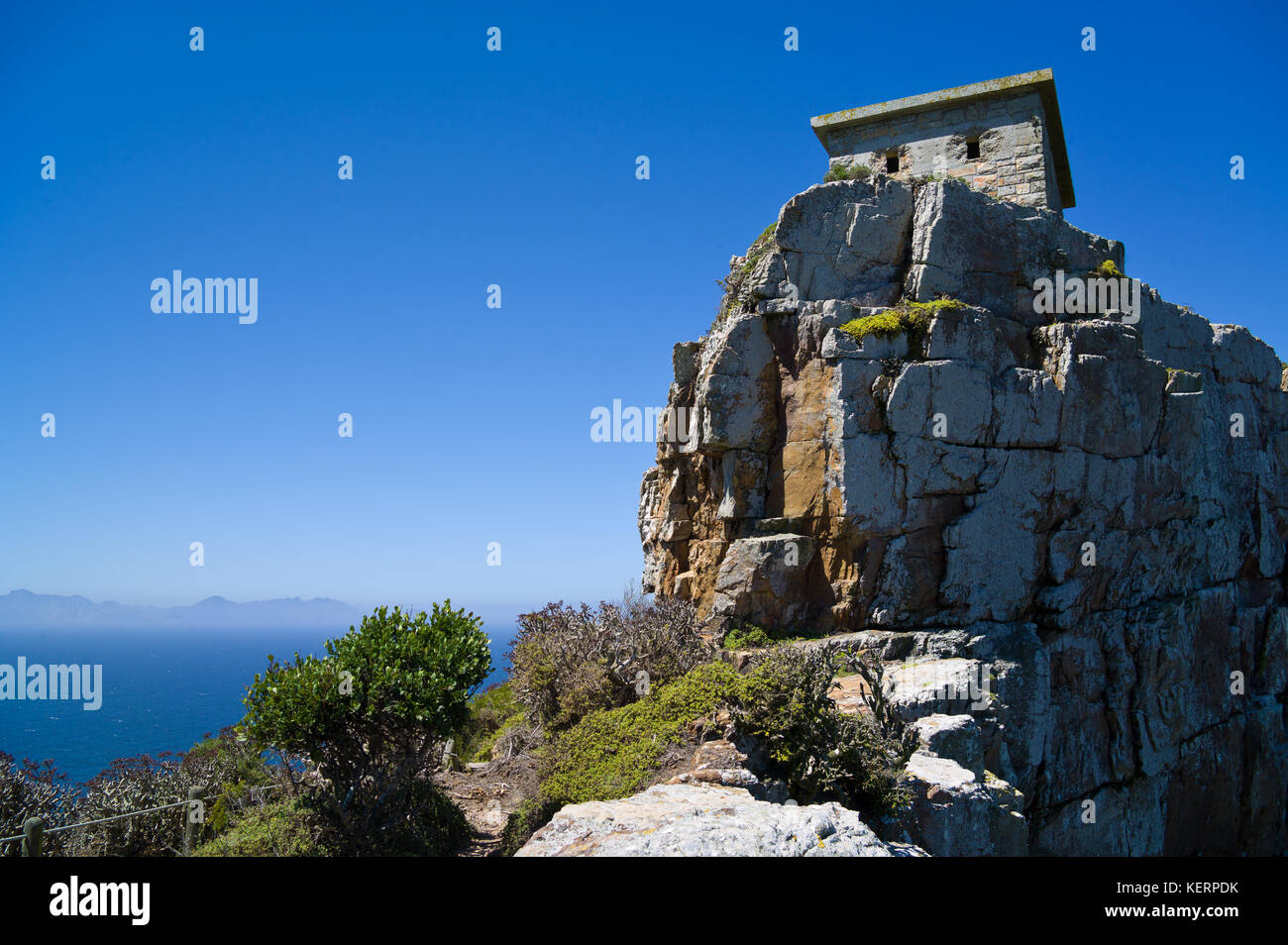 Cape point fait partie de table mountain national park et offre une vue imprenable et l'occasion de randonnée Photo Stock