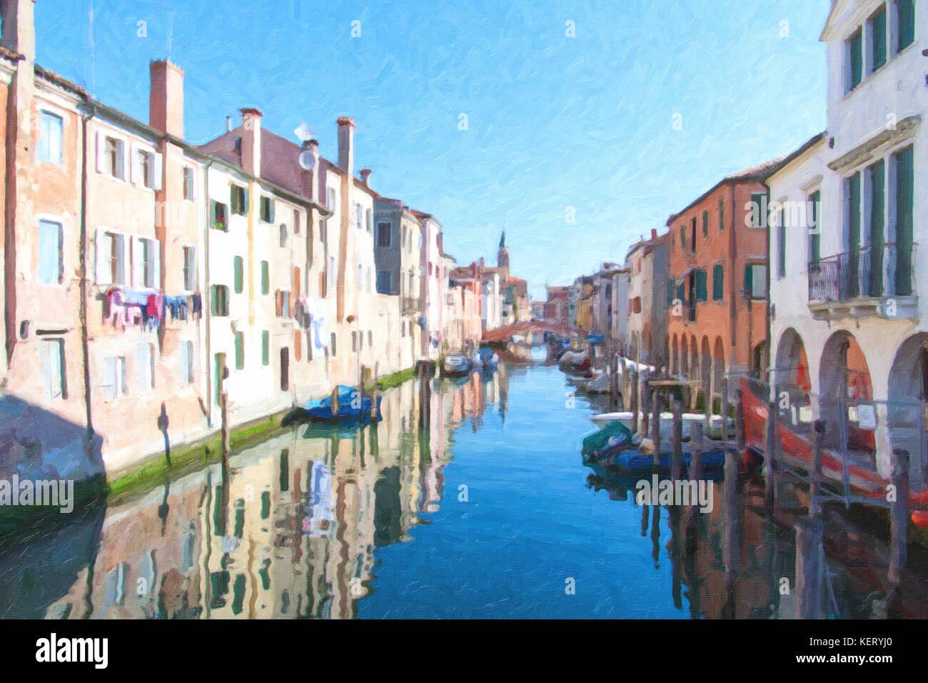 Peinture de vue de la ville de Chioggia, Italie, la petite Venise. Photo Stock