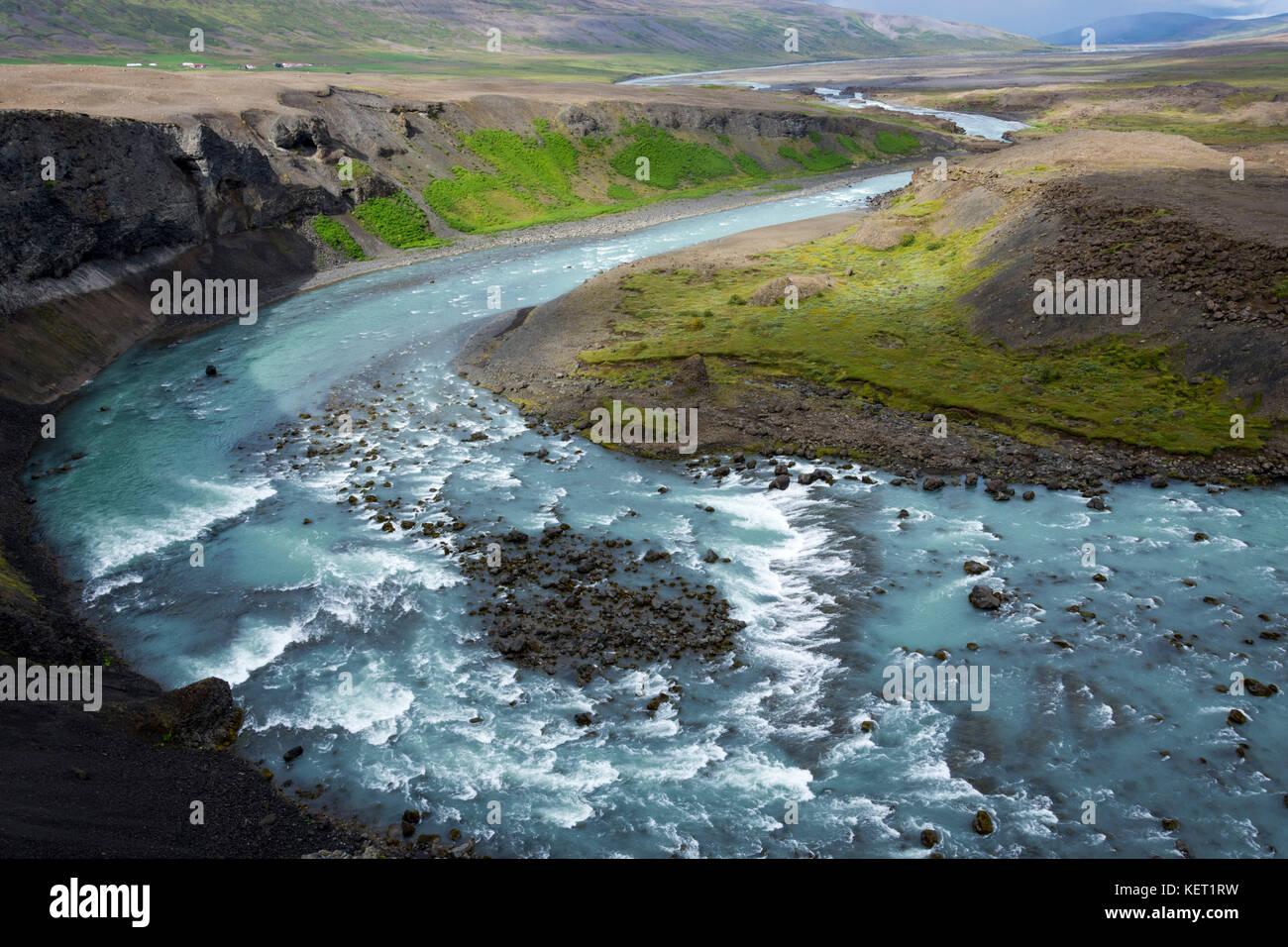 Flux de vie, rivière skjálfandafljót Photo Stock
