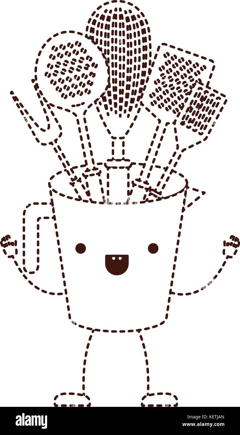 Pot Avec Des Ustensiles De Cuisine En Pointillé Brun