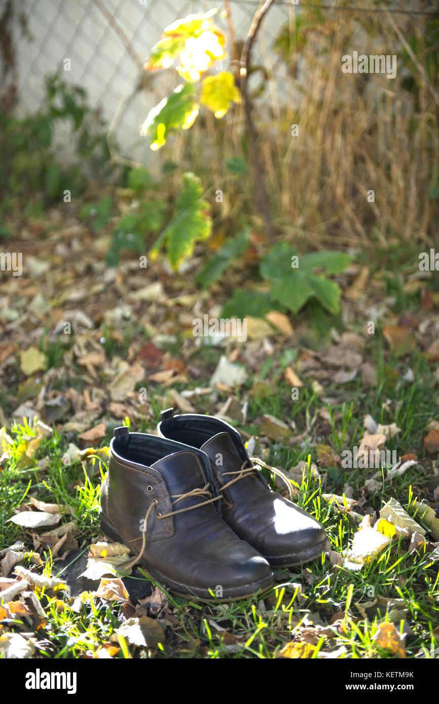 Chaussures hommes automne utilisé,tir libre d'un Photo Stock