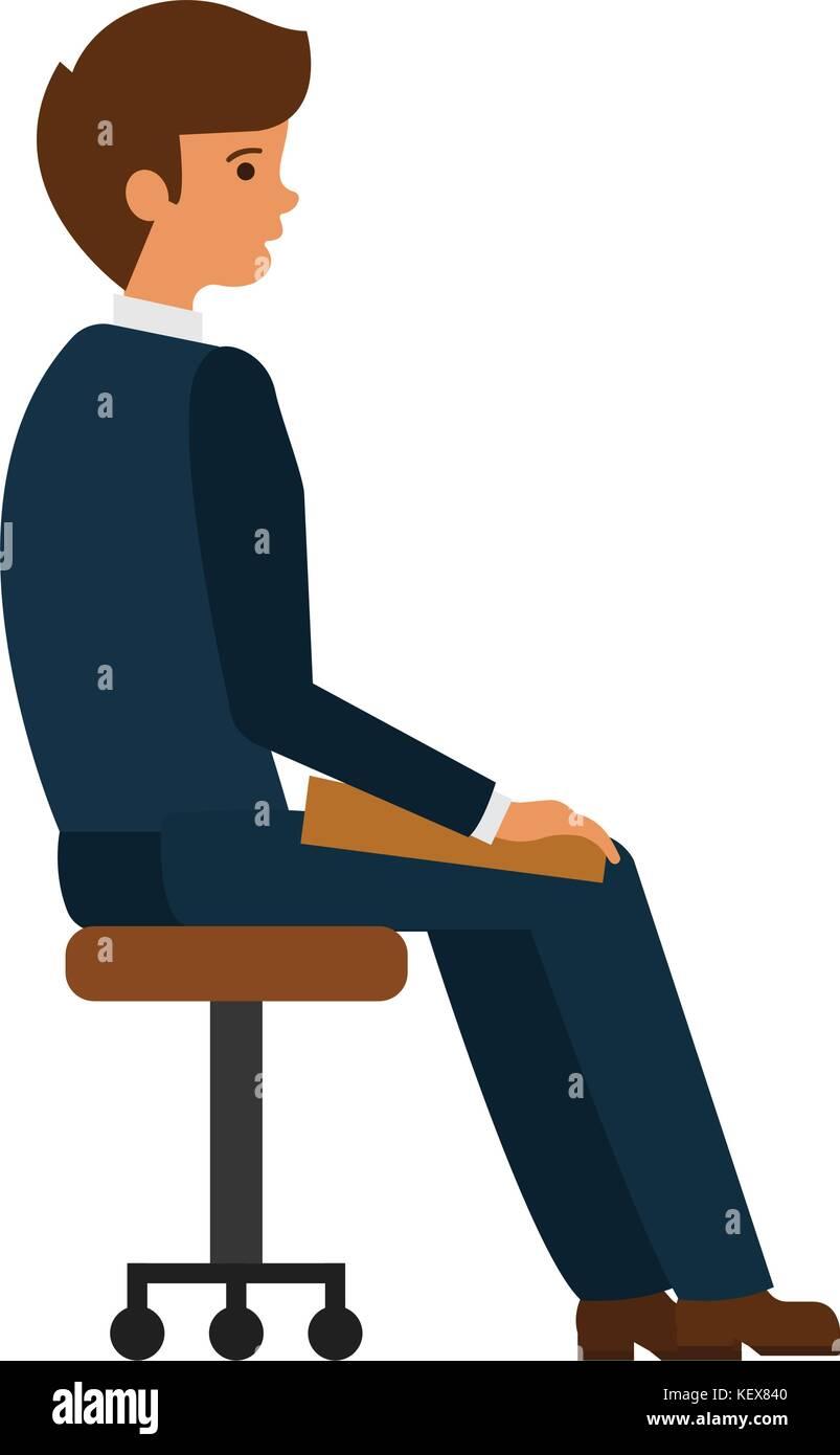 Homme Assis Au Fauteuil De Bureau Television Cartoon Vector