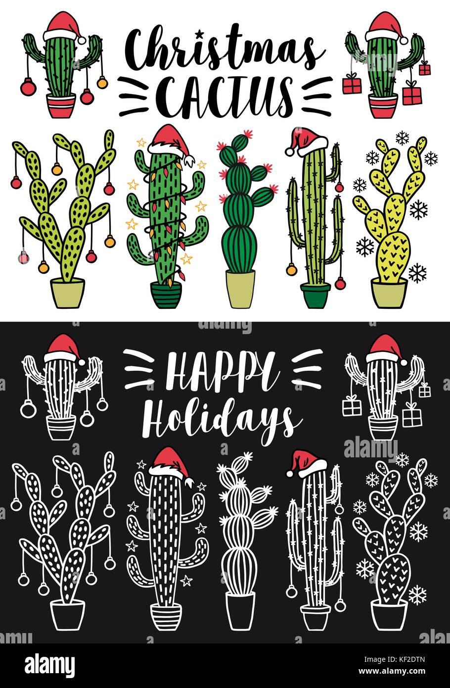 Les arbres de Noël cactus with santa hat et décoration de Noël, ensemble d'éléments Photo Stock