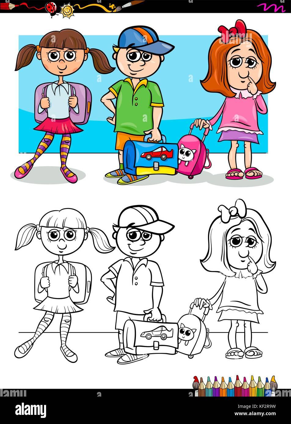 Cartoon Illustration D Enfants De L école Primaire Les