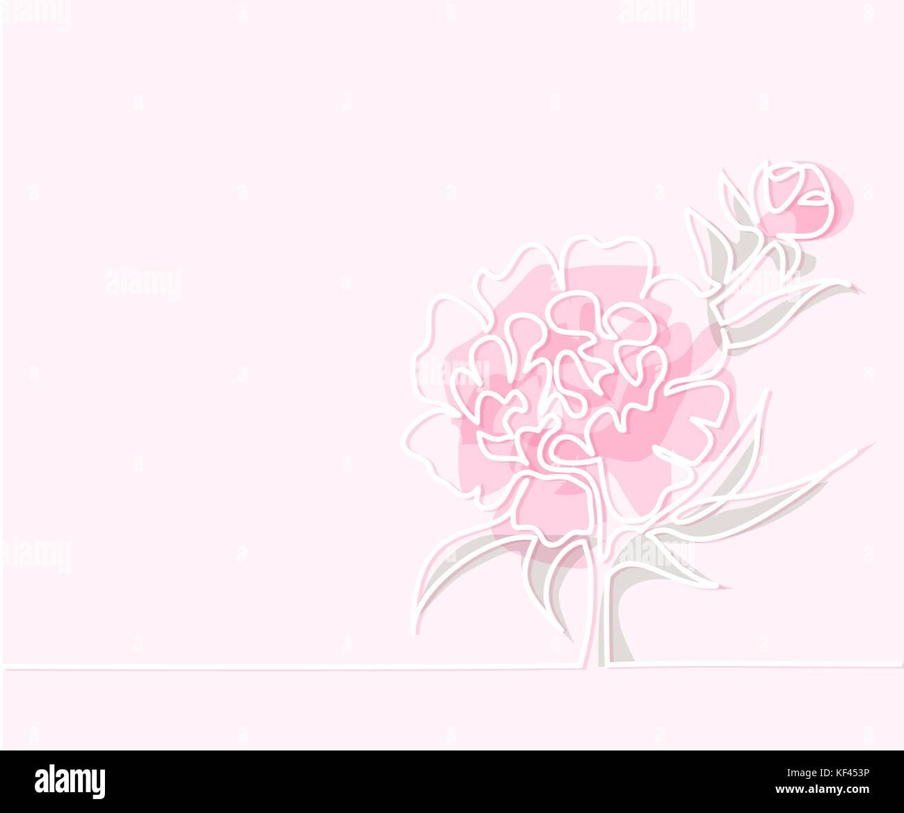 Belle Couleur Rose Pivoine Fleurs Ligne Continue Dessin