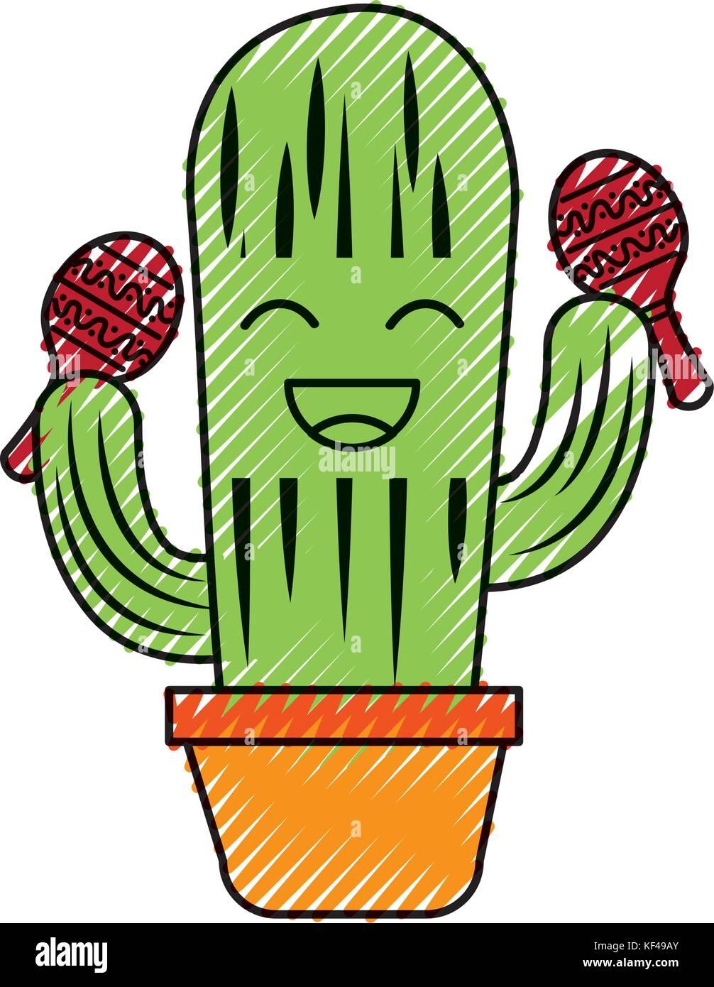 Cactus en pot heureux dessin anim avec les maracas mexicaine c l bration vecteurs et - Dessin du mexique ...
