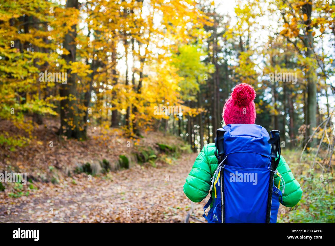 Sac à dos randonnée femme avec à la recherche à l'automne d'inspiration bois doré. Photo Stock