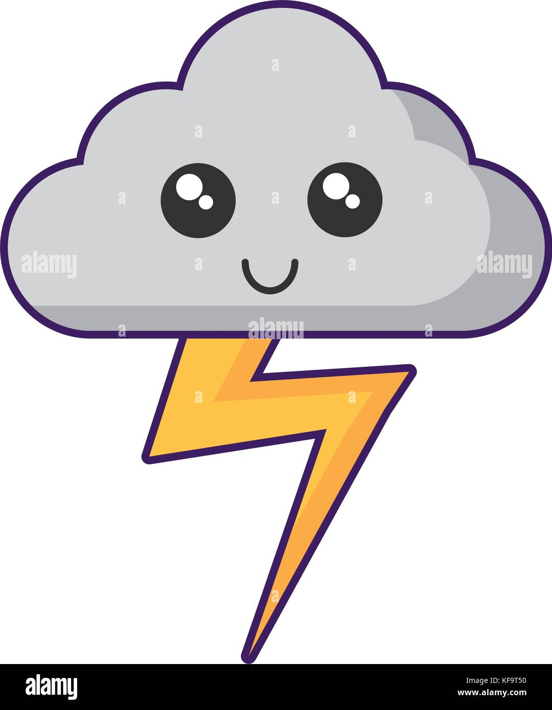 Nuage kawaii et thunder icône sur fond blanc vector illustration Photo Stock